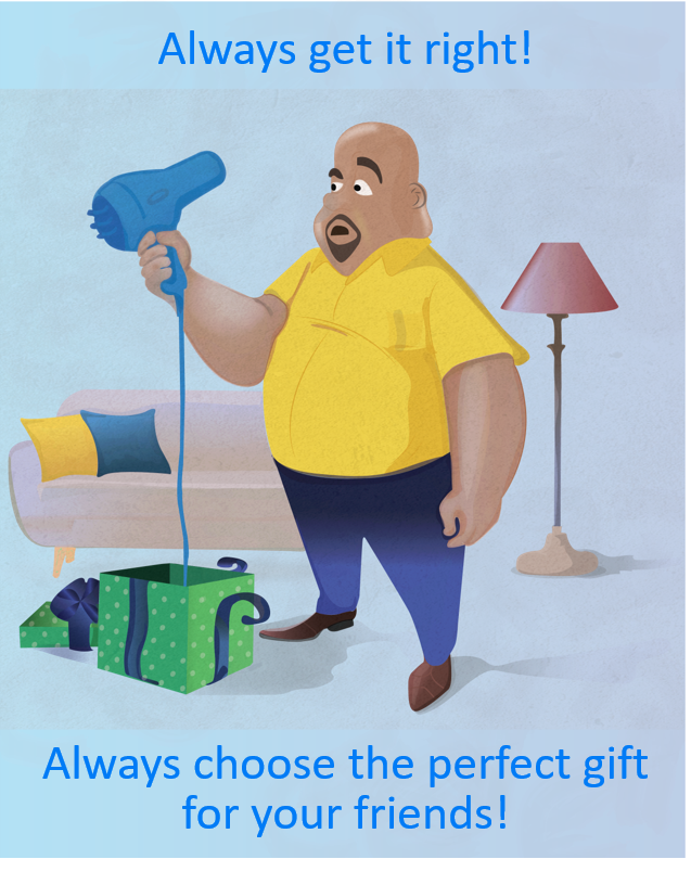 Bald man looking at the blow dryer which he received as a gift