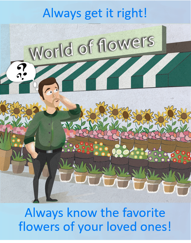Man standing in front of a flower shop trying to remember which flowers he needs to buy