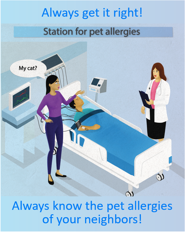 Hospital patient on pet allergy station
