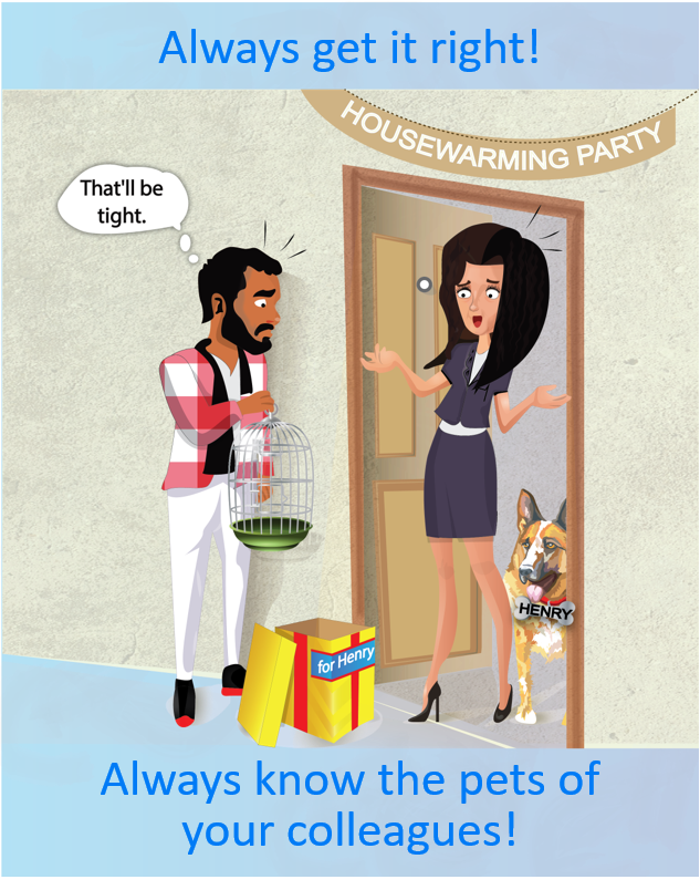 Housewarming party guest brings the wrong gift for the pet dog