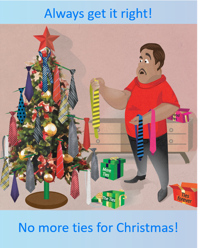 Man decorating Christmas tree with ties