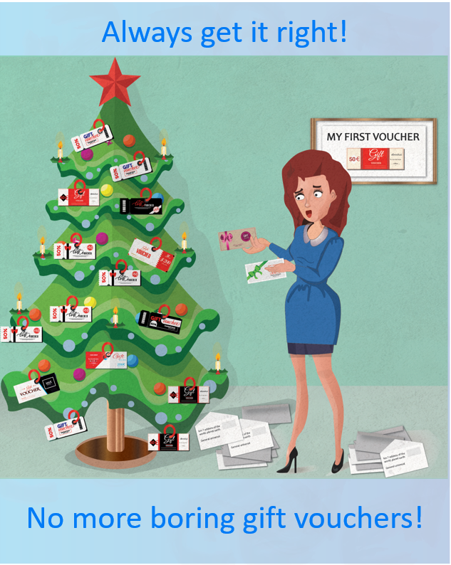 Woman decorating Christmas tree with vouchers